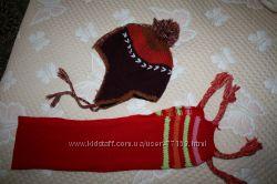 Оригинальная шапочка и шарфик для девочки 4-7 лет.