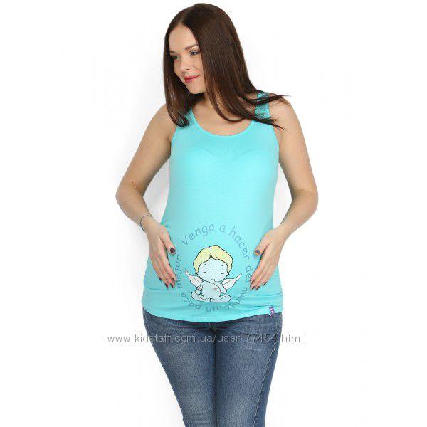 Майка для беременных с принтом - хлопок