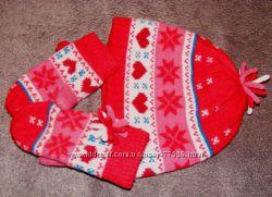Шапочка и рукавички шерстяные на 3-5 лет