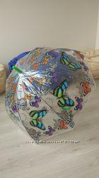 Прозрачный зонт с бабочками