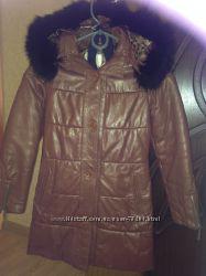 Пальто демисезонное кожаное