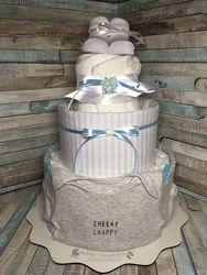 Торт из памперсов, подарок новорожденным