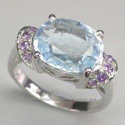Серебряное кольцо с крупным аквамаринои и аметистами