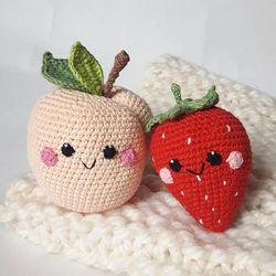 Погремушки прорезыватели фрукты с глазками, грызунки, подарок новорожденным