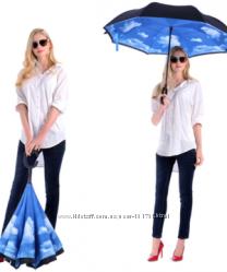 Уникальный зонт-трость Reumbrella с рисунком на выбор, оригинал с кнопкой