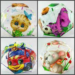 Прозрачный качественный зонт для мальчика и девочки 3-7 лет