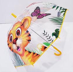 Прозрачный качественный зонт для мальчика и девочки 3-7 лет тигренок