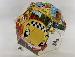 Прозрачный качественный зонт для мальчика и девочки 3-7 лет машинка такси