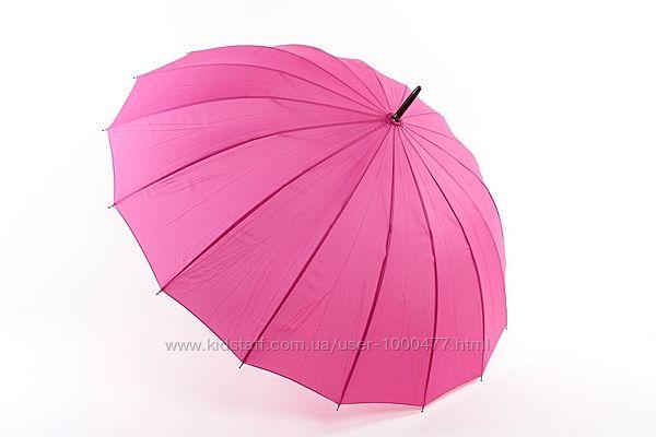 Яркий женский зонт трость полуавтомат max komfort Малина