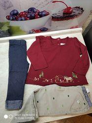 Пакет вещей Gymboree на 3 года - реглан, штаны, бриджи