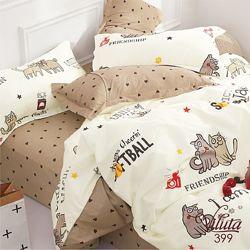 Подростковое полуторное постельное белье Viluta сатин 399 собачки и котики