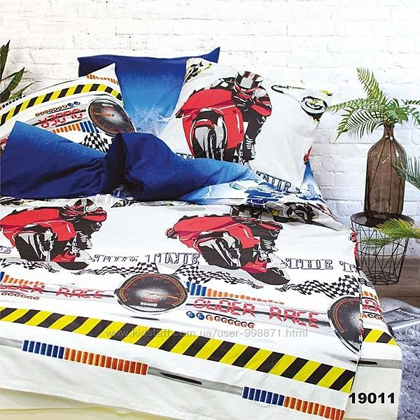 Подростковое полуторное постельное белье Viluta ранфорс 19011 мотоциклы