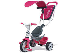 Детский металлический велосипед 741101 с козырьком и сумкой, розовый, Smoby