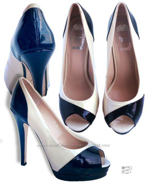 Туфли пудровые новые из натуральной кожи на платформе на высоком каблуке.