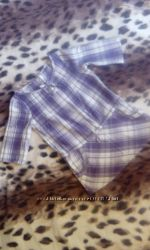 Рубашка-туника фиолетово-белая клетка б. у. рост 134