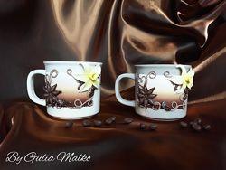 Чашки с декором из полимерной глины. Чайная пара Ванильный дуэт.