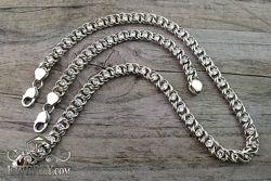 Серебряные цепочка и браслет из серебра с белыми камнями
