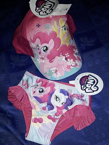 Набор My little pony на девочку 3-5 лет, плавки и кепка Май литл пони.