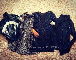 Очень классный пакет вещей, платье в паетку, блуза, платье лео, спортивка