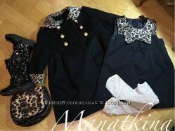 Красивый нарядный комплект набор пальто платье лаковые сапожки сумочка