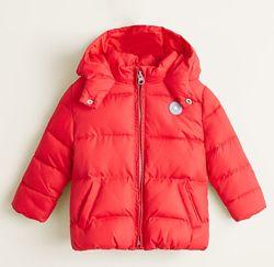 Куртка  Манго,80-86. осенняя на флисе, красная 12-18