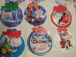 Новогодние открытки-подвески с пожеланиями