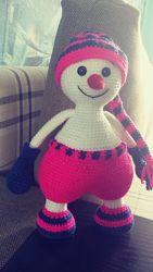 Большой добрый снеговик ручная работа