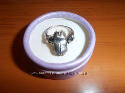 Серебряное кольцо Жук Скарабей