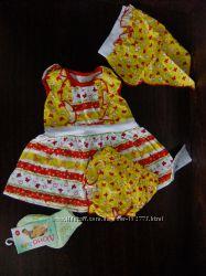 Новый летний комплект для девочки 0-3 мес. носочки Дюна в подарок