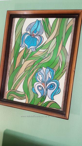 Картина Ирисы в деревянной раме под стеклом