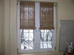 Римские и рулонные шторы из бамбука, жалюзи