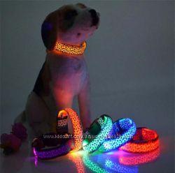 Светящийся ошейник для собак и кошек LED