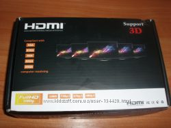 Сплиттер HDMI 1 вх - 4 вых активный 220 В для подключения 4 мониторов