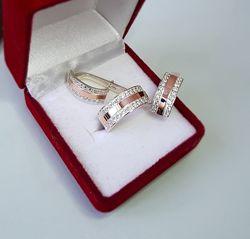 Кольцо серебряное с золотой напайкой