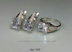 Кольцо серебряное с золотой пластиной и цирконием ec28e7789d938