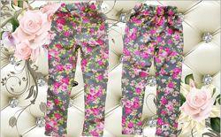 трикотажные стрейч джинсовые леггинсы на девочку Цветы