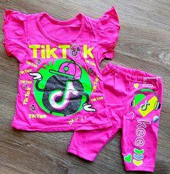 летний детский костюм футболка и трессы из кулира LIKEE & Tik Tok