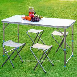 Стол раскладной и 4 стула Folding table для пикника и отдыха