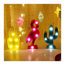 Неоновый 3D ночник, светильник кактус, ананас, фламинго Акция