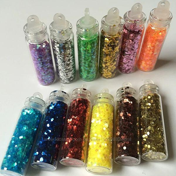 Блёстки для дизайна ногтей в стеклянной колбе, набор 12 цветов