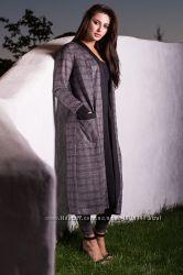 Осенний костюм в клетку кардиган и брюки,  размер ХЛ