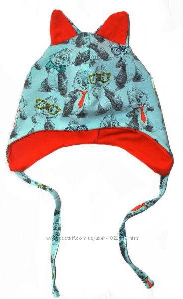 Трикотажная шапка Чип и Дейл ОГ 48-50 см 1-4 года на хлопковой подкладке