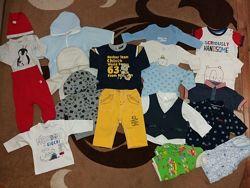 Пакет фирменных вещей Chicco, Next, H&M, Carter&acutes мальчику, на 3-6мес