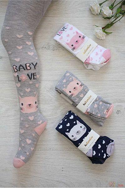 Колготки Baby Love с котиком и сердечками для девочки 0-6мес Katamino Оптом и в розницу