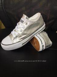 30-36р Детские подростковые серебристые кеды конверсы AIL STAR под Converse