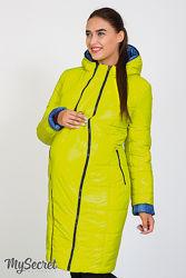 Зимняя куртка для беременных, синий джинс с салатовым