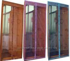 Москитная сетка на двери на магнитах, шторка на двери, ширина 1 м