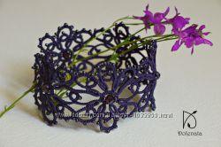 кружевной браслет фиолетовый