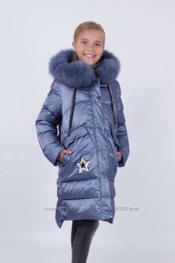 Новинка. Зимнее пальто Кико на девочку 128-152р с натуральным мехом