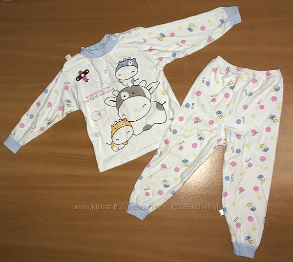 Теплая хлопковая пижама для девочки 3- 4 года
